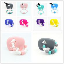Baby Teether Pacifier Elephant Silicone Natural Sound Teething Chewable Nursing Beads Child Give Up Sucking Fingers(China)
