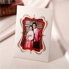 Invitaciones De Boda 2015 White Laser Cut Photo Frame Paper Wedding Cards Invitations with Bracket on Back Stand free Envelopes