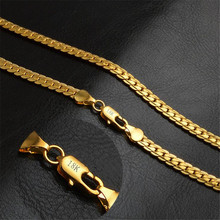 Gold chain rough necklace Hot Long Necklace Fashion Jewelry 18 K 5MM 50cm 20inch Men Chain Necklace Wholesale(China)