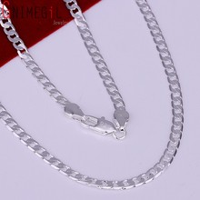 "925 Silver Men Chain Necklace Fashion Cute 4mm Silver Chains Necklace Top Quality Men's Brazilian Jewellry 16"" 18"" 20"" 22"" 24"""