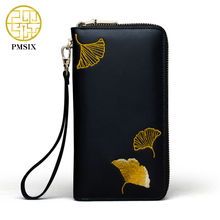 Pmsix Embroidery Leather Wallet Cattle Split Leather Woman Purses Designer Chinese Style Coin Clutch Bag Card Holder 420029