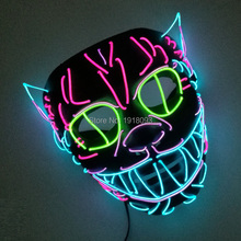 2017 New arrival Blinking EL Wire Mask String Lights Funny Cute Cat King Neon light Mask for Halloween Party Decoration(China)