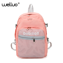 WELLVO Multi-Layers Zipper Backpacks for Teenage Girls Oxford Rucksack for Students Grid Bags College Stylish Backpack XA119WB(China)