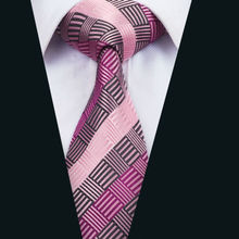 DH-1473 New Arrival Barry.Wang Fashion Men`s Tie Pink Striped NeckTie Silk Jacquard Ties For Men Business Wedding Party(China)
