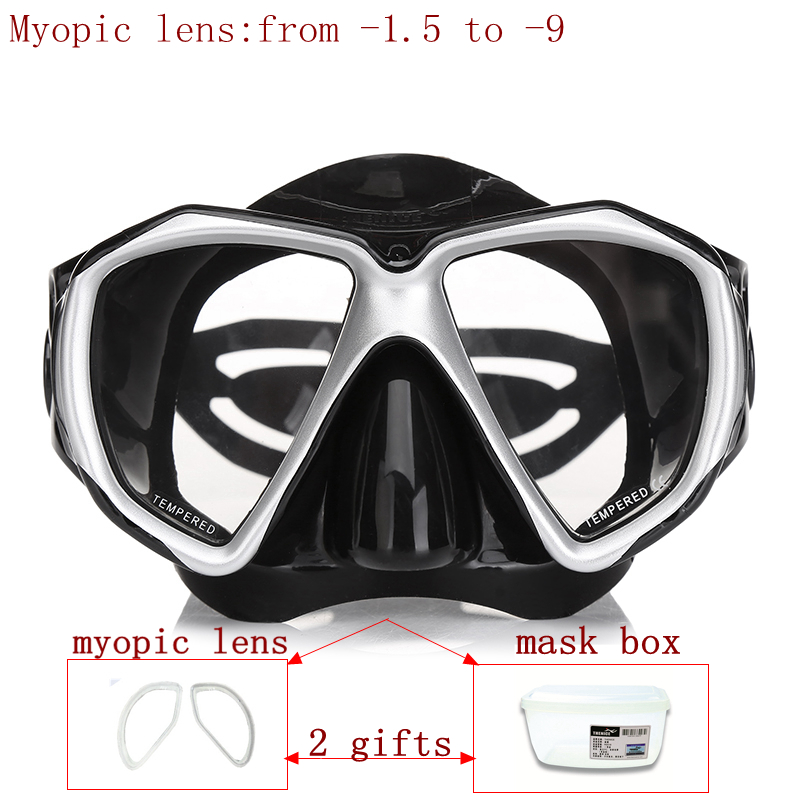 Prossional diving mask for nearsighted divers and snorker optical lens scuba mask tempered glass myopia lens dive mask for adult<br>