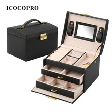 ICOCOPRO Jewelry Organizer Ring Holder Cases Packaging Gift Box Jewelry Display Stand Casket for Women Decorations Jewelry Box