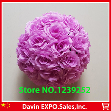 New 10Pcs/Lot 20cm Super Elegant  Purple Silk Rose Artificial Flower Ball Kissing Ball For Wedding Party DIY Bridal Flower Decor