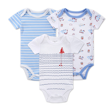 Baby Boy Girl Romper 3pcs/lot Baby Printed Car Patern Striped Romper Soft Clothing Safe Material 100% Cotton Baby Jumpsuit
