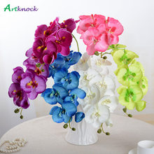 Real touch Artificial Butterfly Orchid flower Silk+Plastic Phalaenopsis for fall autumn Wedding Home DIY Decoration Fake Flowers(China)