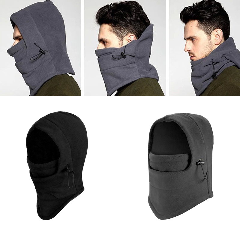 4 in 1 SNOOD Fleece Mens scarf Hood Balaclava Neck Winter warmer Face Mask LIN