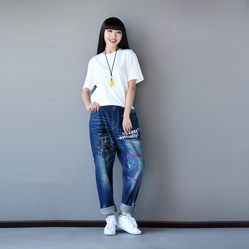 Women Casual Letter cartoon Printed Loose Jeans Ladies Elasitc Waist Denim Pants Denim Trousers FemaleОдежда и ак�е��уары<br><br><br>Aliexpress