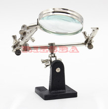 Third Hand Soldering Iron Stand Helping Clamp Vise Clip Tool Magnifying Glass wholesale(China)