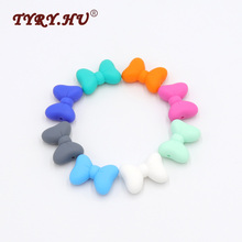 TYRY.HU 10Pcs Multicolor Bow Tie Shaped Silicone Beads BPA Free Food Grade Creative Baby Chewed Beads DIY Necklace Or Bracelet(China)
