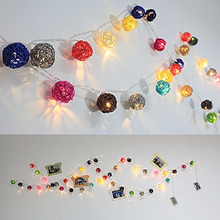 2M length, 20pcs Ivory White pink blue green red Handmade Rattan Balls String Lights Fairy Party Patio Decor battery Powered