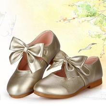 2017 Girls Toddler Bow Princess Shoes Party Dress Kid Flat Heels New Fashion(China)