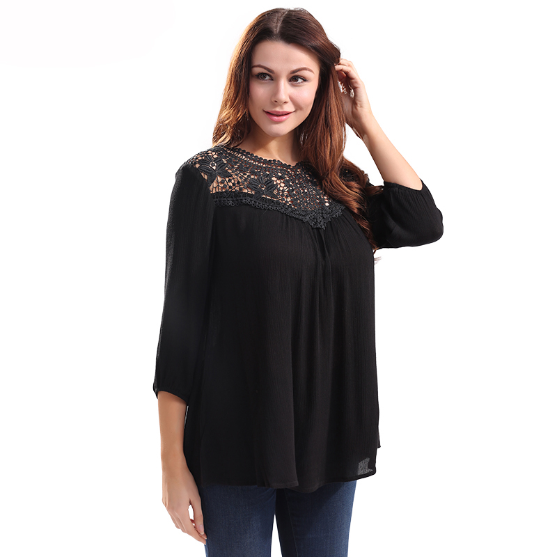 Shirt Women Black Linen Blouse Fashion Summer 2017 Sheer Pleated Smocked Crochet Hollow Out Ladies Tops 3/4 Sleeve blusa Shirts(China (Mainland))