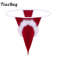 Buy TiaoBug Red Mens Velvet Santa Christmas Costume Fancy Cosplay G-string Thong Underwear Tanga Hombre Gay Jockstrap Penis Briefs