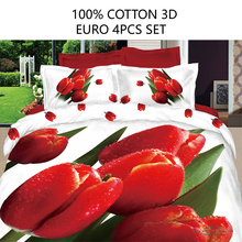 Euro size 4pcs quilt cover set 100% cotton 3D bedding set  high quality duvet cover flat sheet pillowcase red flower linen