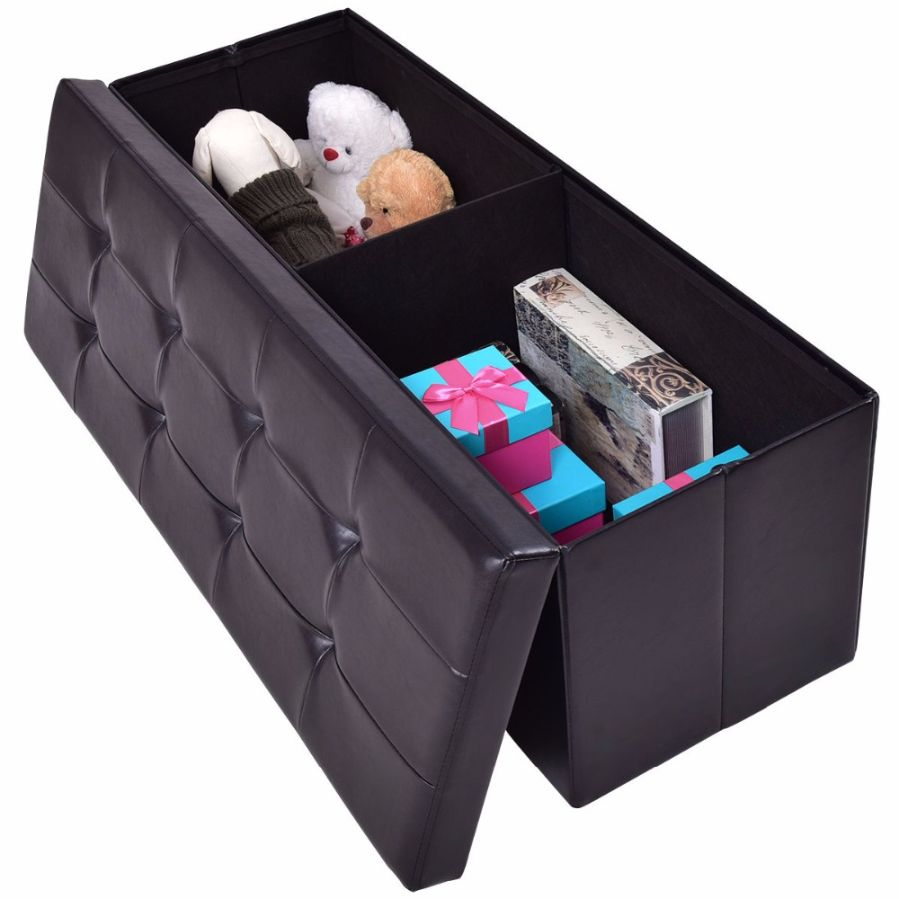 Giantex 43x15x15 Large Folding Storage PU Leather Ottoman Pouffe Home Office Organizer Box Modern Foldable Stools HW55968<br>