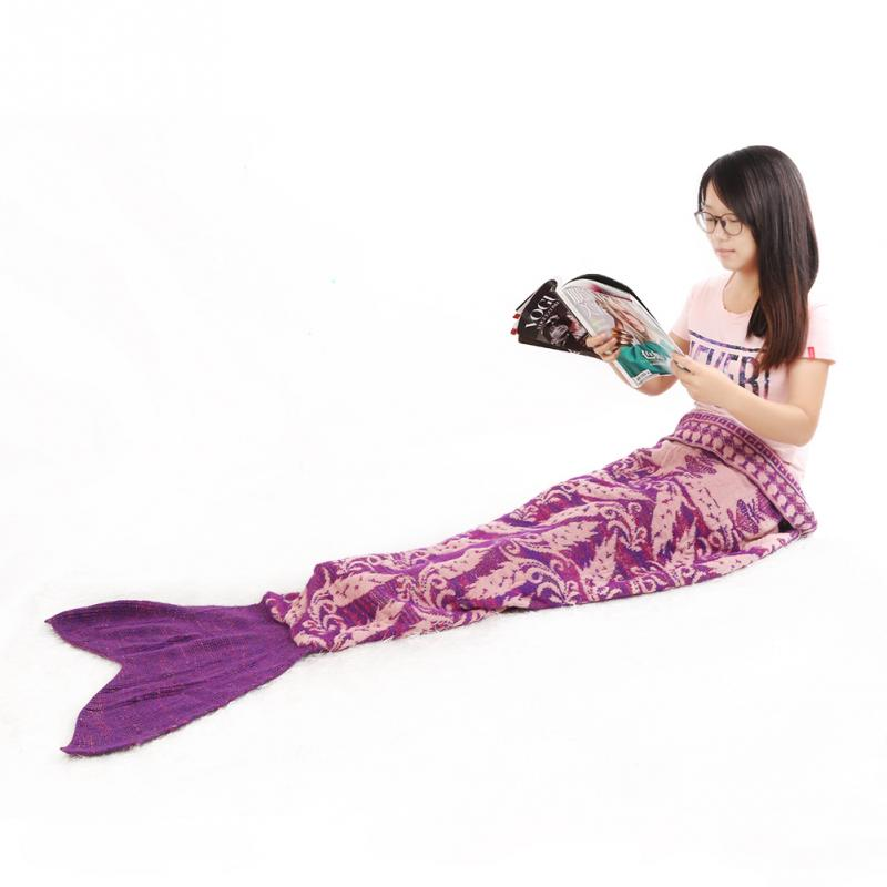 Hot Fashion Printing Mermaid Tail Blanket Crochet Adult &amp; Kids Soft Kintted Rug<br>