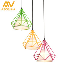 D25cm Black Modern Art Pyramid Nordic Iron Diamond Pendant Lights Birdcage Ceiling Pendant lamps Home Decorative Light Fixture