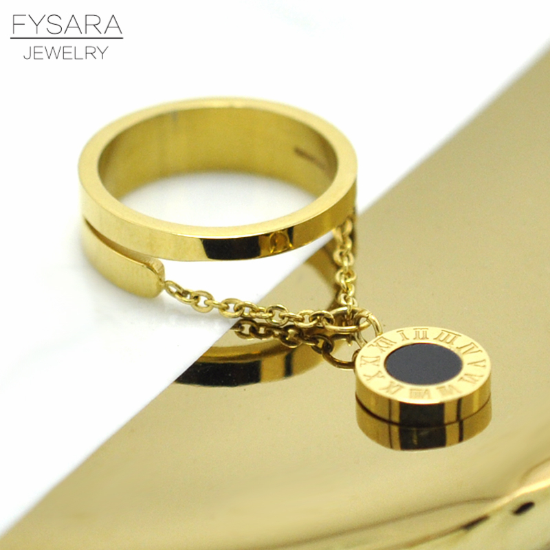 FYSARA Luxury Brand Chain Round Tag Finger Rings Gold-Color Stainless Steel Roman Numerals Ring Women Accessories