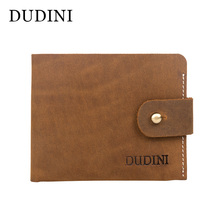 [DUDINI] Retro Slim Fossil Wallet Short Genuine Leather Money Package Crazy Horse Skin Horizontal Leisure Card Holder Case Purse(China)