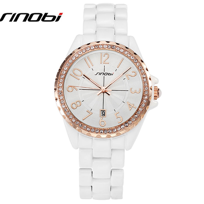 SINOBI Couples Watches 2017 New Analog  Luxury Quartz Complete Calendar Outdoor Fake Diamond Women And Men Watch Lovers 8176<br><br>Aliexpress