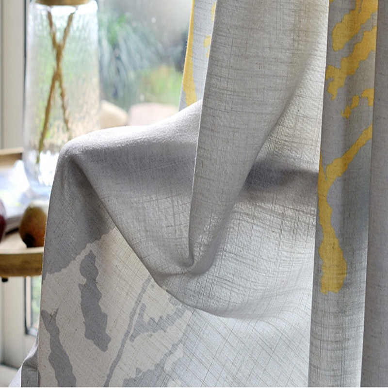 American Country Style Plantain Leaves Curtains For Living Room Window Tulle Grey Semi-shade Curtain Bedroom White Yellow Fabric