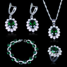 Dubai Style Green CZ White Austrian Crystal 925 Stamp Silver Color Jewelry Sets Earrings/Pendant/Necklace/Rings/Bracelets(China)