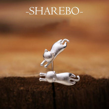 Wholesale! 2015 fashon pure 925 sterling silver cat earrings 1pair/lot cute woman/girls stud earrings jewelry free shipping!!