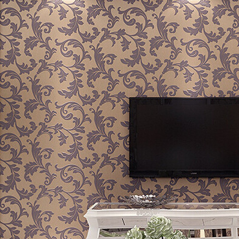 beibehang Non-woven Wallpaper Buttercup leaves pattern wall paper roll Luxury European 3D wallcovering papel pintado for living<br>