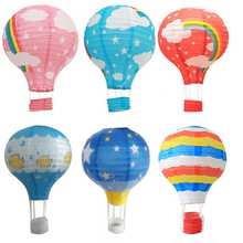 12'' Rainbow Hot Air Balloon Paper Lantern Birthday Party Wedding Decor Colour