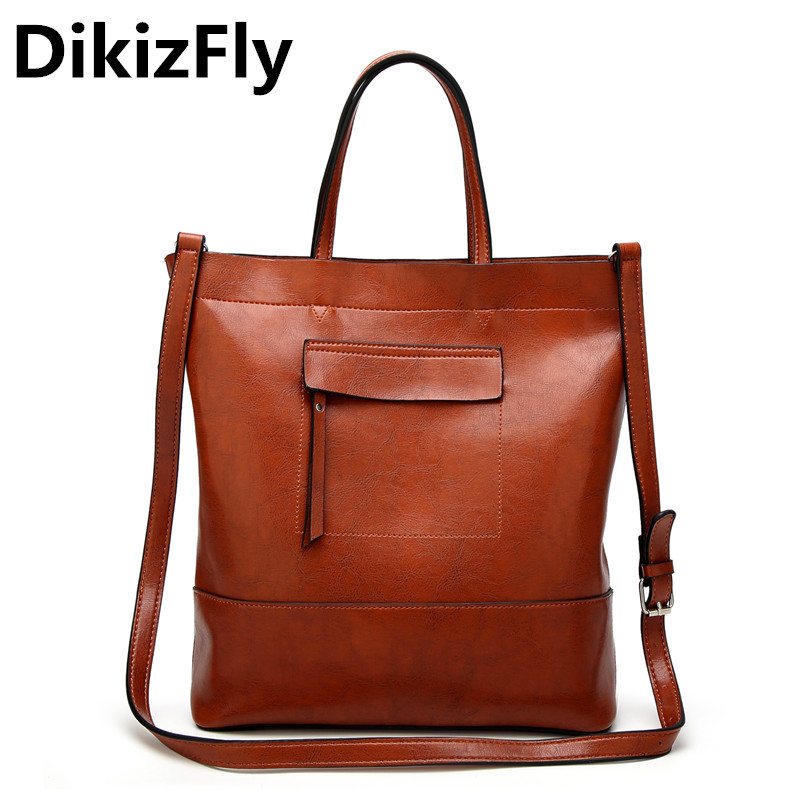 DikizFly Brand Fashion Women Bag PU Leather Female Handbag Large Size Women Tote Bag Daily Bucket Messenger Bags for 2018 Purse <br>