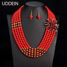 UDDEIN Nigerian wedding bridal jewelry sets crystal flower necklace & pendant women statement collar African beads jewelry sets(China)