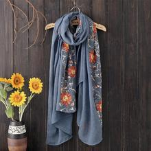 2017 Fashion Embroidery Scarf for Women Summer Bandana Beach Cotton Floral Warp Shawl Long Silk Sunscreen Scarves 190cm X 90cm(China)