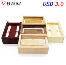 VBNM USB 3.0 LOGO customized Wooden usb + BOX usb flash drive Memory stick pendrive 4GB 8GB 16GB 32GB U disk wedding gift(China)