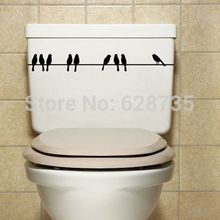 free shipping Vinyl Art Toilet Seat Art Decor Decals, Artistic Toilet seat art stickers with birds & turtle & love ,R2006
