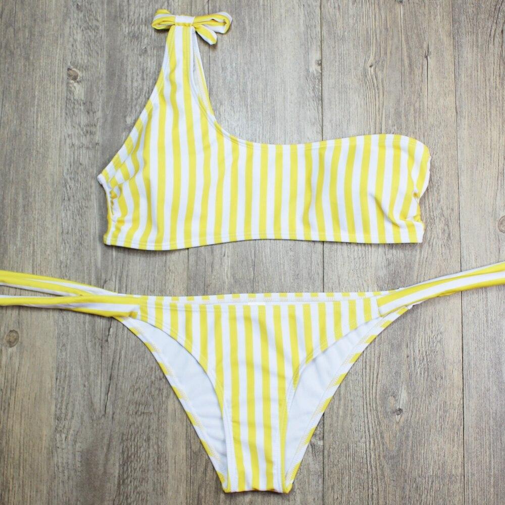 P&j 18 Sexy One Shoulder Bikini two pieces swimsuit female Swimwear Women Bikini Set Bathing Suit swim biquini 15
