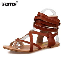 TAOFFEN Size 30-50 Women Flat Shoes Bohemia Lace-Up Sandals Fashion Women Shoes Classic Design Gladiator Sandals Women Sandals(China)