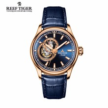 Reef Tiger/RT Dress Men's Watch Rose Gold Tone Tourbillon Watches Blue Dial Quartz Analog Wrist Watch RGA1639(China)