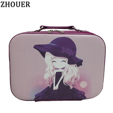 Women Carton Professional Makeup Cosmetic Bag Travel Organizer Case Necessary Toiletry Storage Box Portable Suitcase Bags SZ04(China)