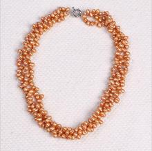 1102+++5-6MM Natural freshwater pearl necklace fashion jewelry manufacturers selling three layer winding(China)
