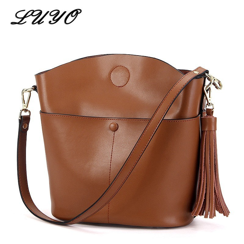 LUYO Tassel Genuine Leather Bucket Fashion Female Messenger Bags Handbags Women Famous Brands Sac A Main Crossbody Bags For Tote<br>
