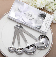 Silver Heart Shaped Measuring Spoons In White Box Wedding Bridal Shower Party Gift Valentine's Day Favors Children Kids Present