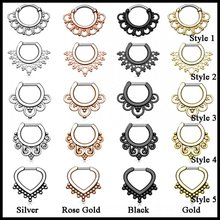 Fashion 1PC Titanium Tribal Hinged Nose Septum Clicker Ring Ear Cartilage Charming Earring Jewelry 16g