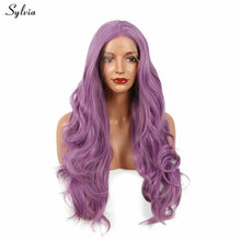 Sylvia Long Bouncy Lilac Purple Hairstyle Heat Resistant Fiber Wigs Wavy Dark Lavender Glueless Synthetic Lace Front Women Wig(China)