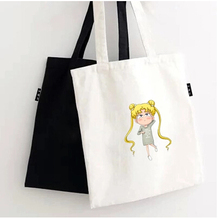 5 pcs/lot black white Cartoon Sailor Moon on the Moon Theme Background Cotton Canvas Tote Bag(China)