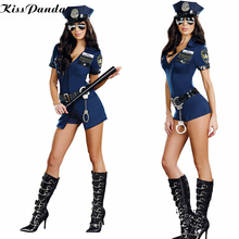 Police women Halloween Costumes Sexy Cop Uniform Party Wear Police Cosplay Costume new lady Fancy zipper Dress Halloween Costume(China)