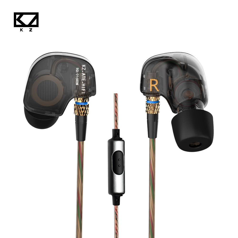 KZ ATE Heavy Bass Earphones HIFI In Ear Sport Earphone With Microphone Copper Driver Ear Hook Noise Cancelling Auriculares<br><br>Aliexpress
